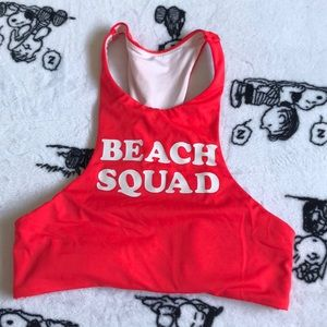 Halter Lifeguard Red Swimsuit Top Beach Squad